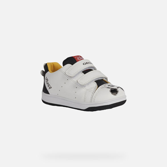 MICKEY MOUSE BABY GEOX NEW FLICK BABY BOY - WHITE AND BLACK