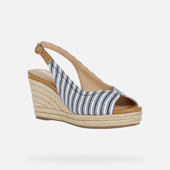 SANDALS WOMAN GEOX SOLEIL WOMAN - NAVY AND WHITE