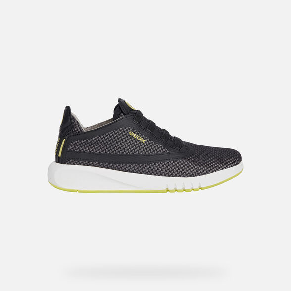 SNEAKERS BOY GEOX AERANTER BOY - BLACK AND LIME