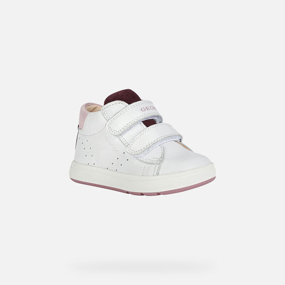 FIRST STEPS BABY GEOX BIGLIA BABY GIRL - WHITE AND PLUM