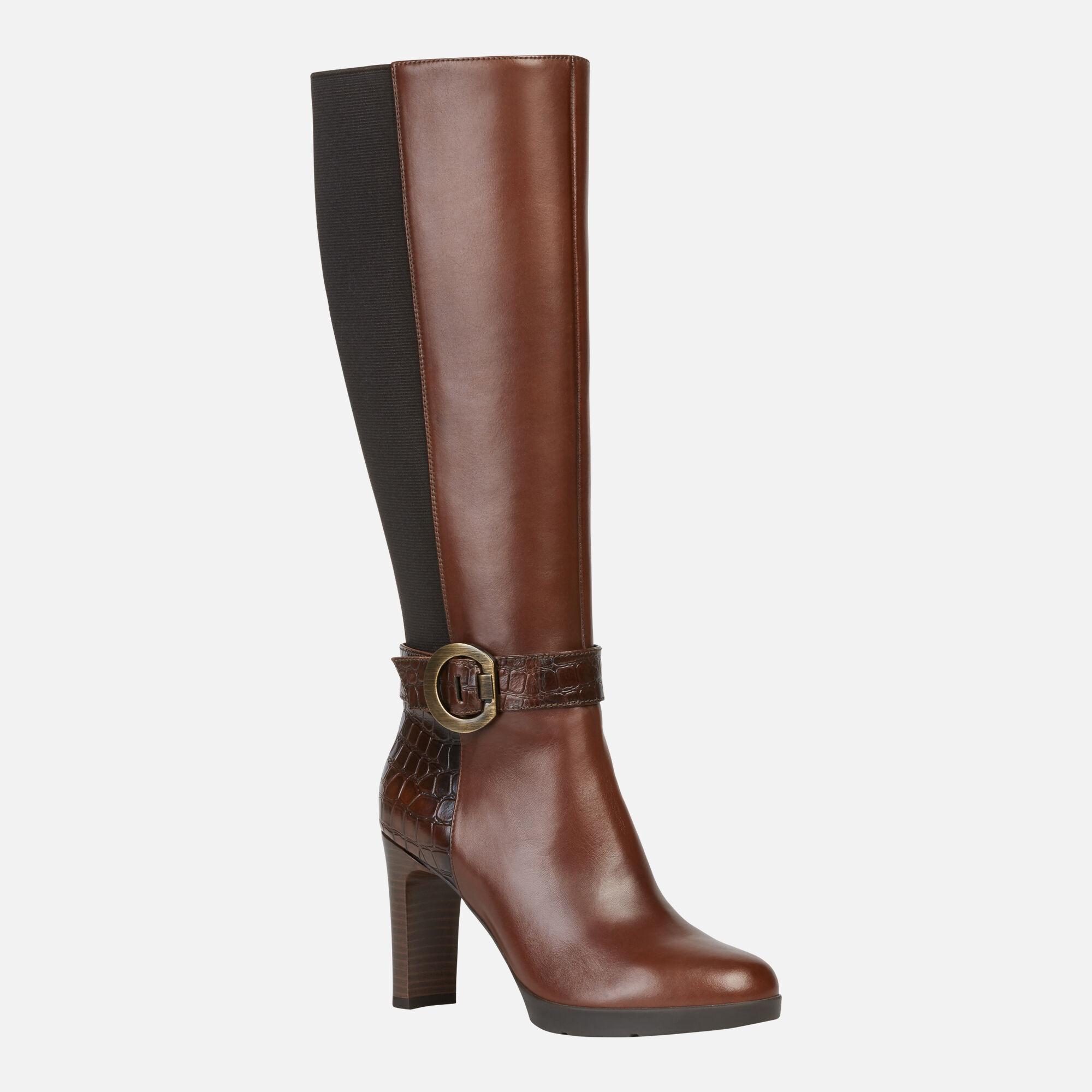comprar marca Geox UK Talla 6 marrón Leather Knee High botas