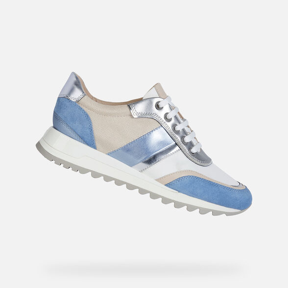 SNEAKERS WOMAN GEOX TABELYA WOMAN - LIGHT BLUE AND WHITE