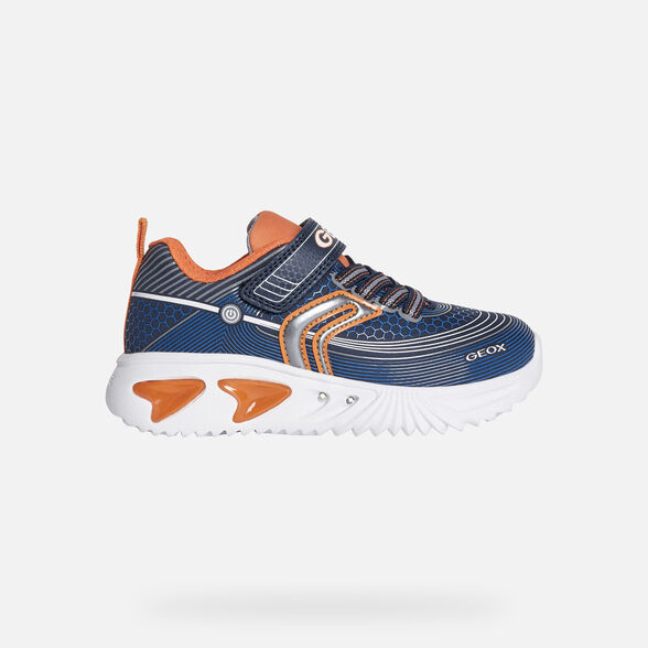 LIGHT-UP SHOES BOY GEOX ASSISTER BOY - NAVY AND ORANGE