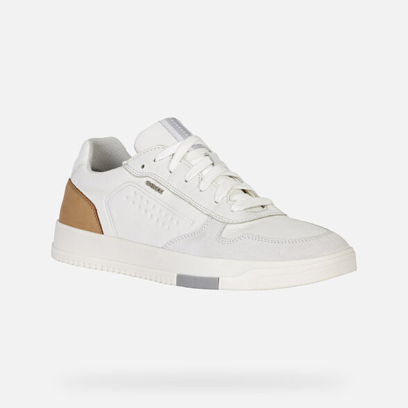 SNEAKERS MAN GEOX SEGNALE MAN - WHITE AND COGNAC