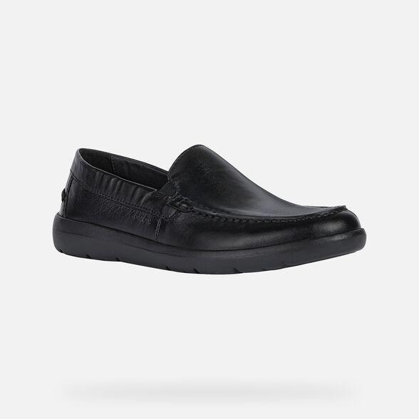 Geox U Leitan U743QC00085C9999 Mens Black Leather Casual Slip On Loafers Shoes 8