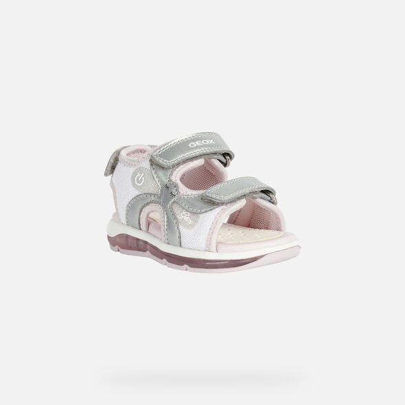 LIGHT-UP SHOES BABY GEOX TODO BABY GIRL - SILVER AND PINK