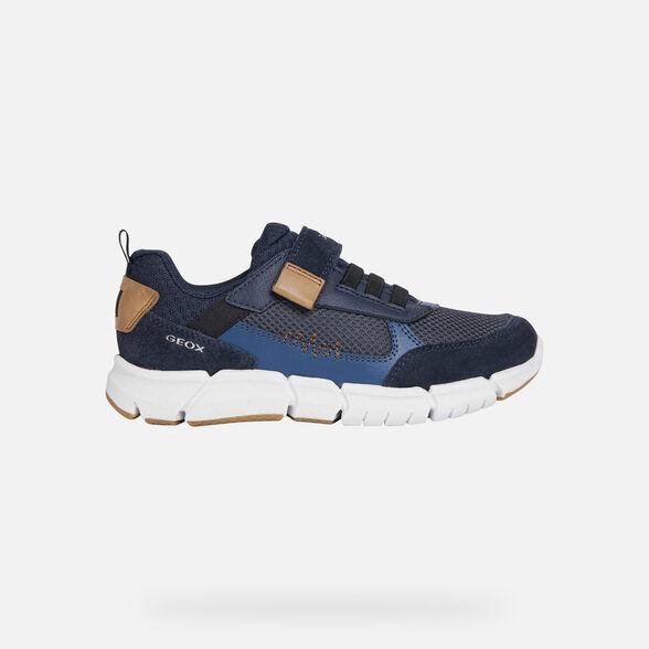Geox Flexyper Kinder Sneakers Turnschuhe J029bc-01422//c0735 Blau Navy Neu