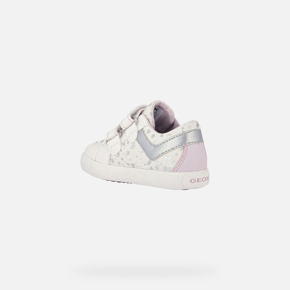 SNEAKERS BABY GEOX GISLI BABY GIRL - WHITE AND PINK