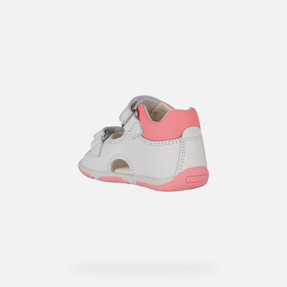 FIRST STEPS BABY GEOX TAPUZ BABY GIRL - WHITE AND FLUOFUCHSIA