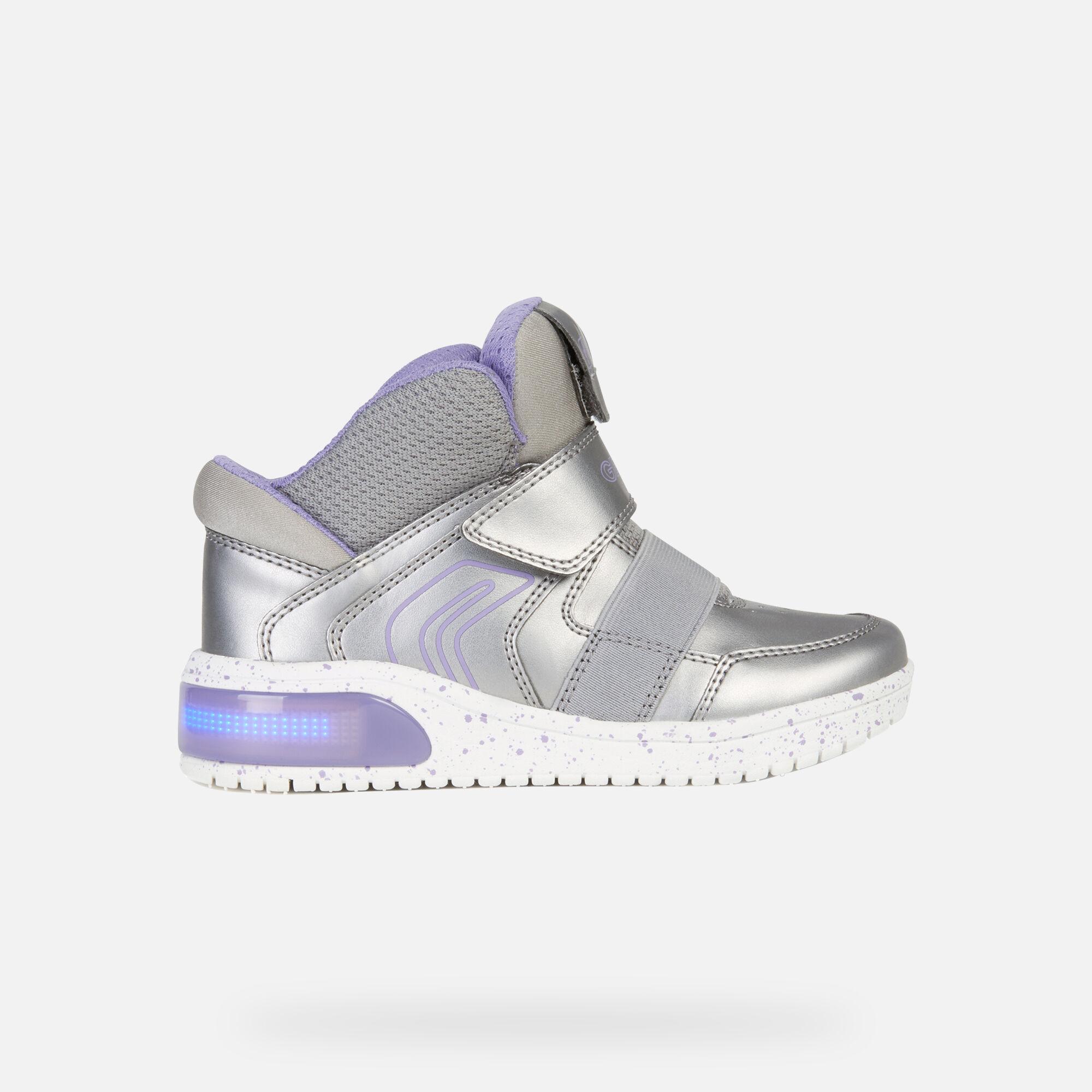 Geox XLED Junior Girl: Dark silver Sneakers | Geox ® FW 1920