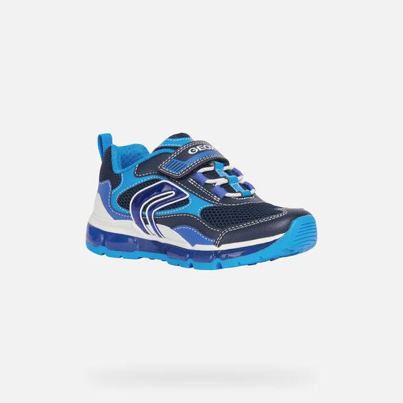 LIGHT-UP SHOES BOY GEOX ANDROID BOY - NAVY AND LIGHT BLUE