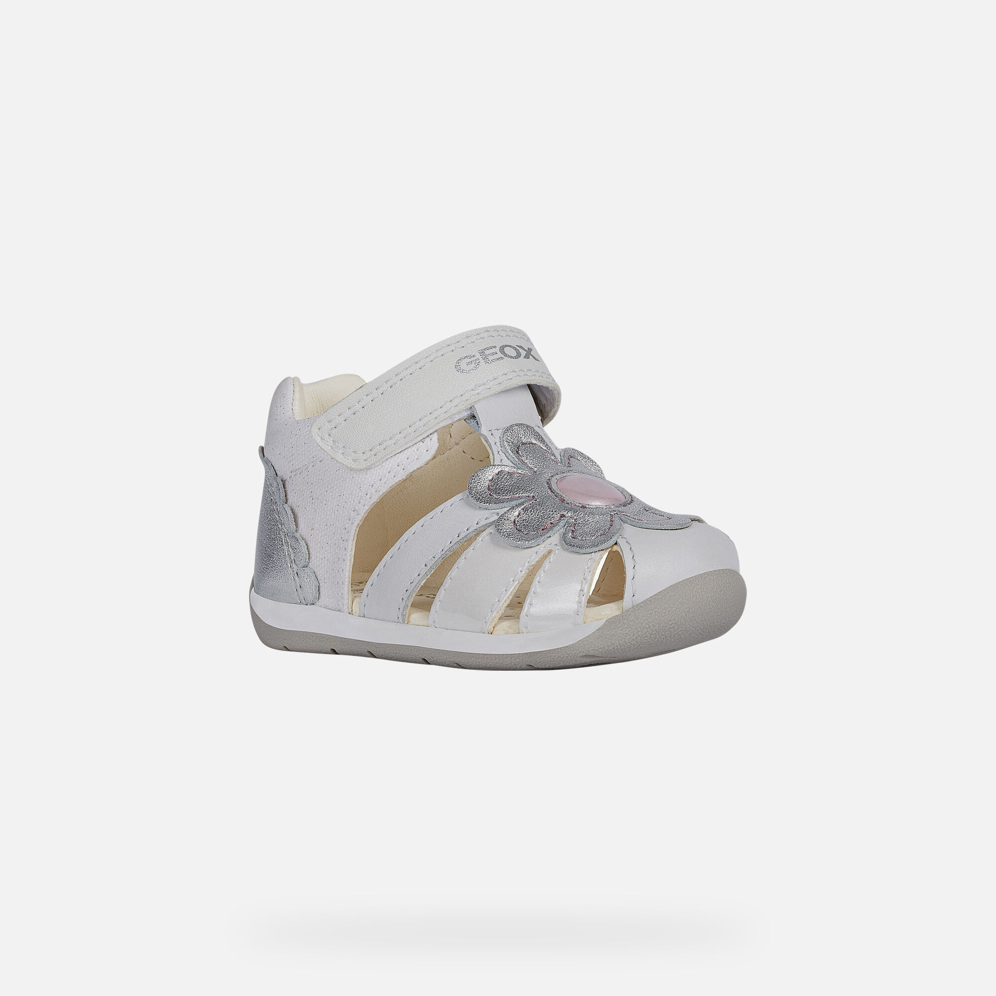 Geox B EACH: White and Silver Baby Girl First Steps Shoes | Geox