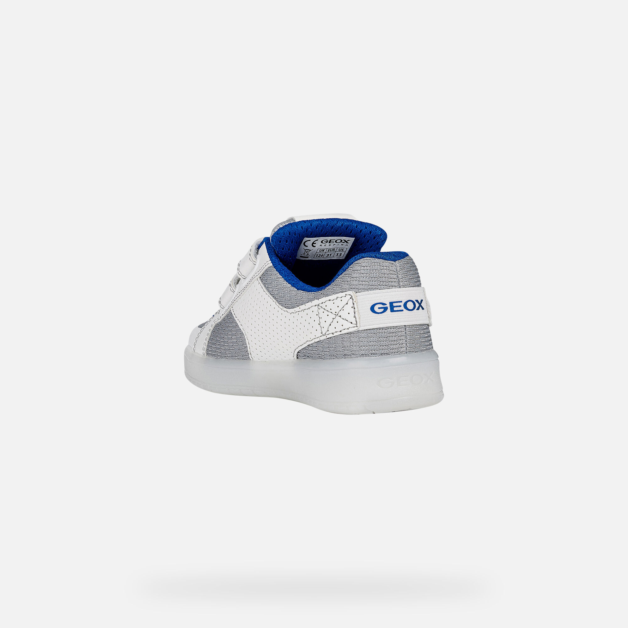 Geox J KOMMODOR BOY: White Junior Sneakers | Geox