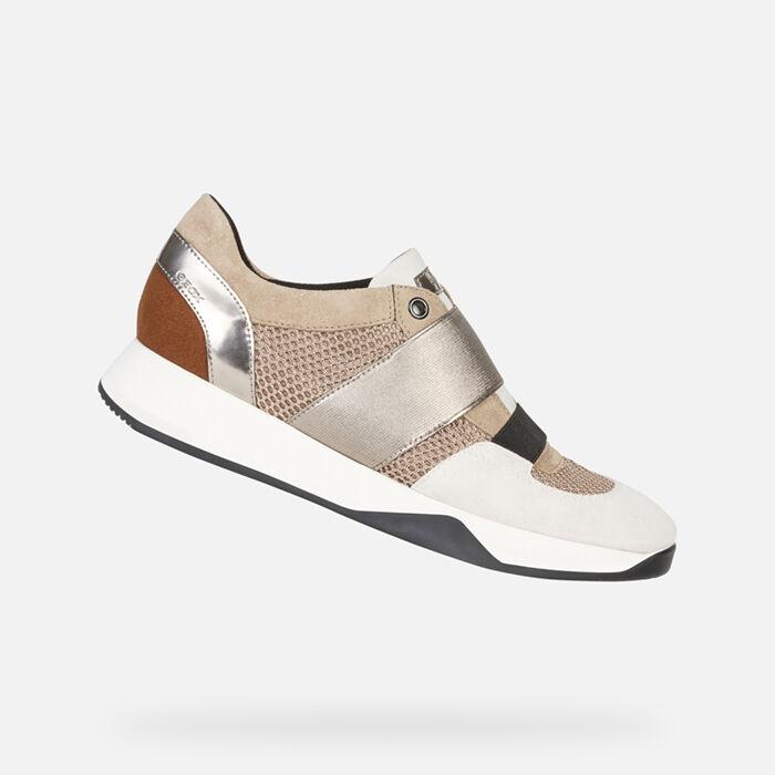 Geox nydame sneaker donna slip on zeppa 41 platinum