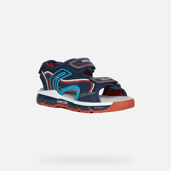 LIGHT-UP SHOES BOY GEOX ANDROID BOY - NAVY AND RED