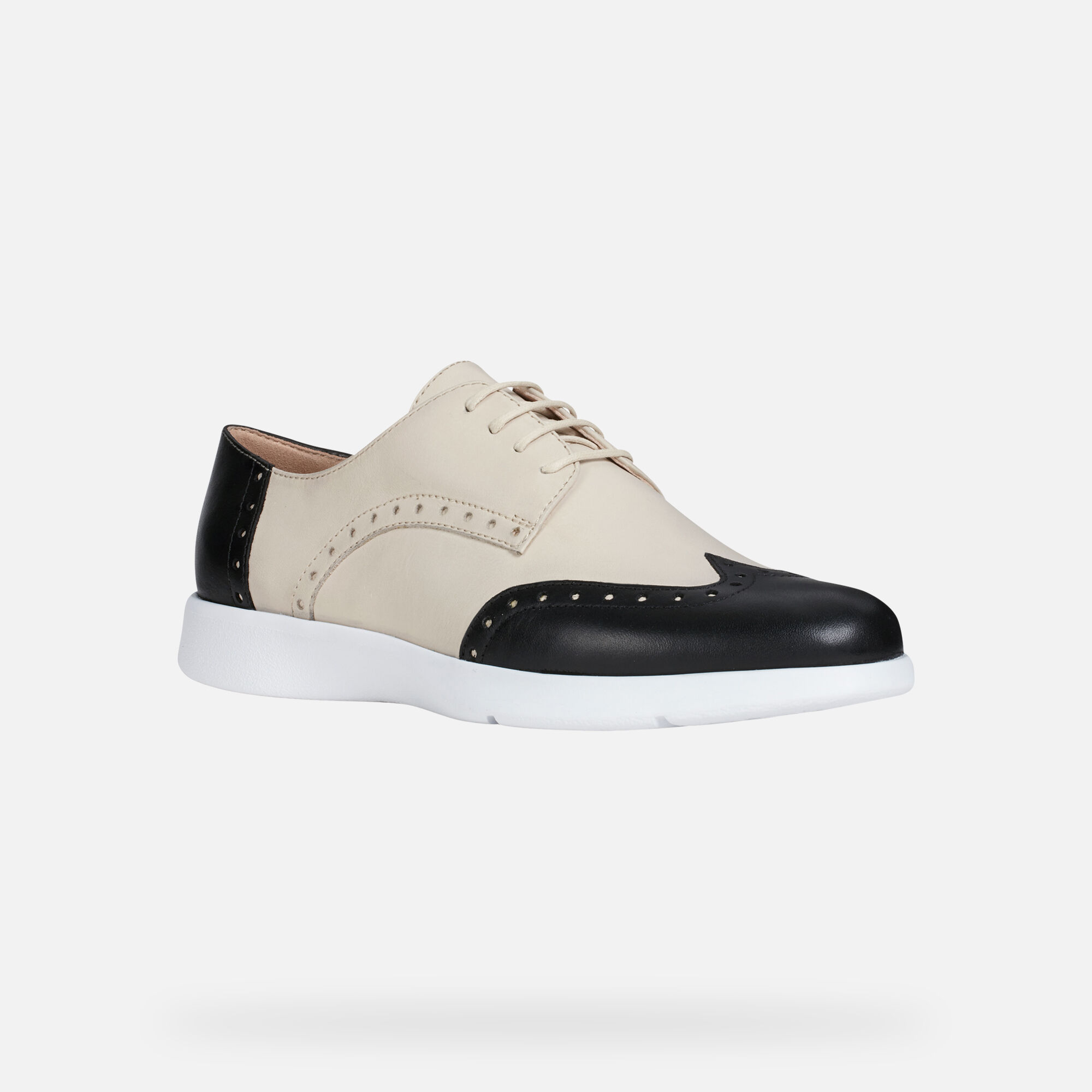 Geox D ARJOLA: Cream and Black Woman Shoes | Geox SS19