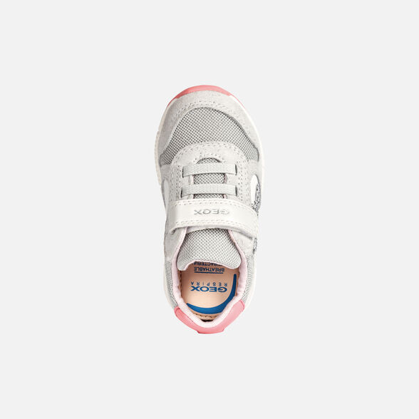 SNEAKERS BABY GEOX ALBEN BABY GIRL - WHITE AND FLUOFUCHSIA