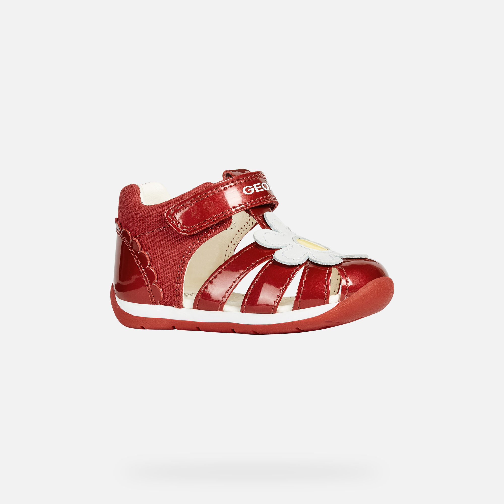 Geox B EACH GIRL: Red and White Baby First Steps Shoes | Geox