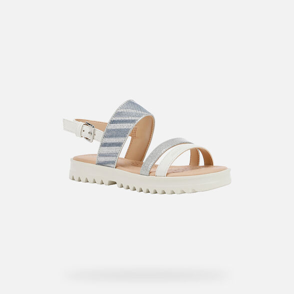 SANDALS GIRL GEOX CORALIE GIRL - WHITE AND SILVER