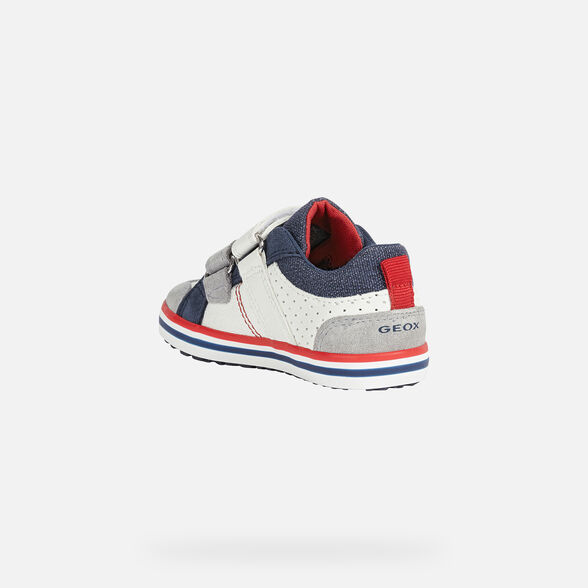 SNEAKERS BABY GEOX KILWI BABY BOY - WHITE AND GREY