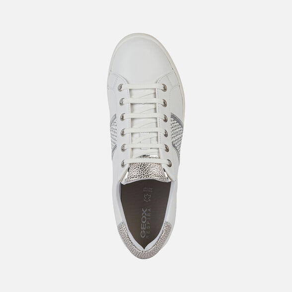 SNEAKERS WOMAN GEOX JAYSEN WOMAN - OFF WHITE AND SILVER