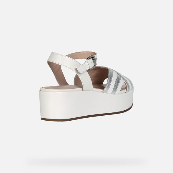 SANDALS WOMAN GEOX FAVIGNANA WOMAN - WHITE AND SILVER