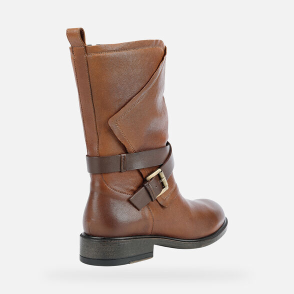 ANKLE BOOTS WOMAN GEOX CATRIA WOMAN - BROWN AND COFFEE