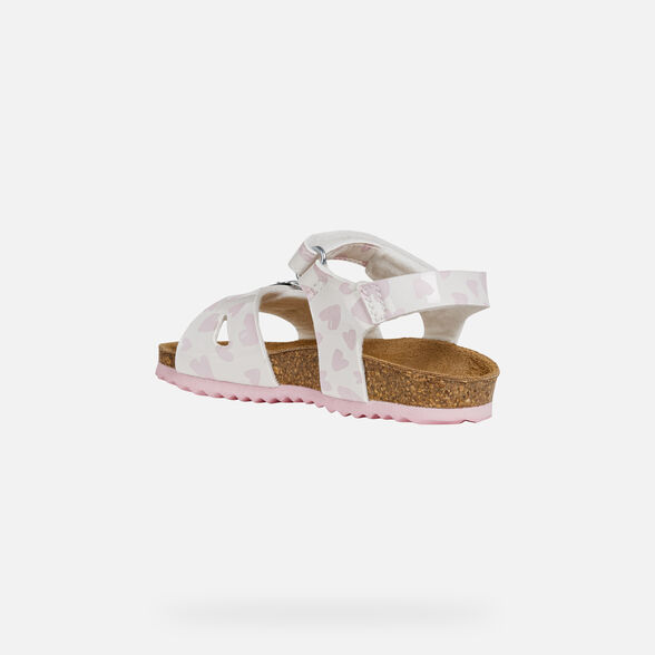 SANDALS BABY GEOX CHALKI BABY GIRL - WHITE AND PINK