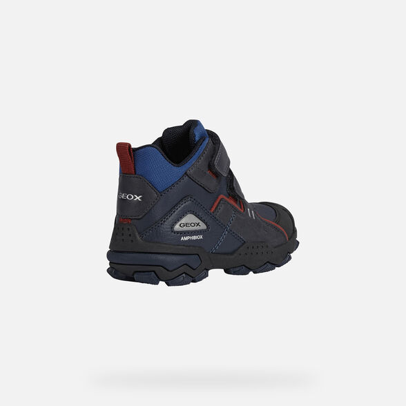 MID-CALF BOOTS BOY GEOX BULLER ABX BOY - NAVY AND DARK RED