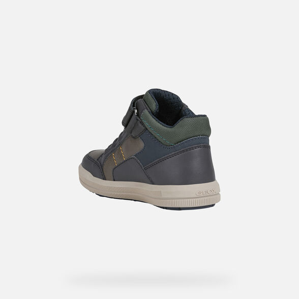 SNEAKERS BOY GEOX ARZACH BOY - COFFEE AND NAVY