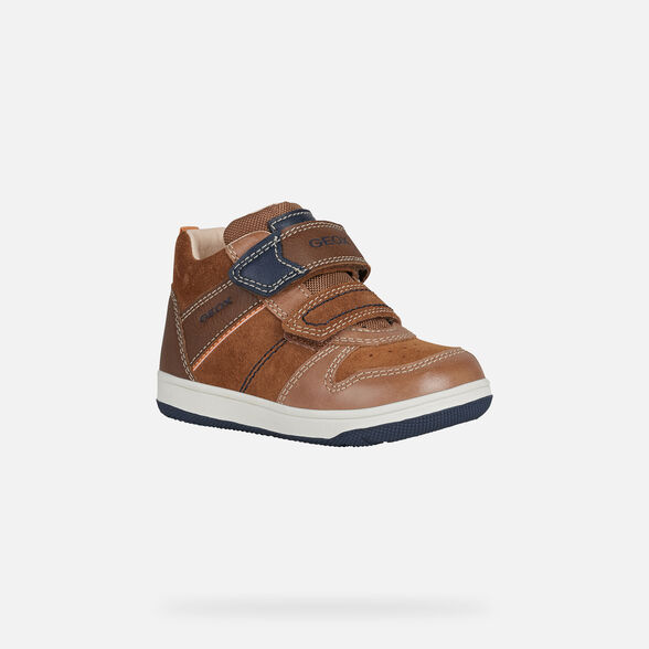 SNEAKERS BABY GEOX NEW FLICK BABY BOY - BROWN AND NAVY