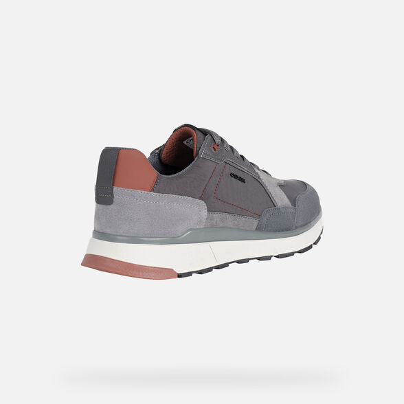 SNEAKERS MAN GEOX DOLOMIA MAN - ANTHRACITE AND DARK RED