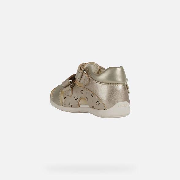 FIRST STEPS BABY GEOX KAYTAN BABY GIRL - BEIGE AND GOLD
