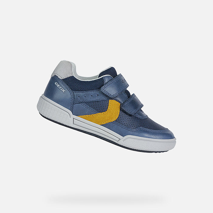 Geox Breathable Light Up Pokemon Pikachu Sneakers Shuttle Navy Blue and Yellow