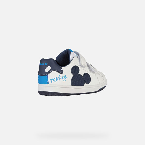 MICKEY MOUSE BABY GEOX NEW FLICK BABY BOY - WHITE AND NAVY