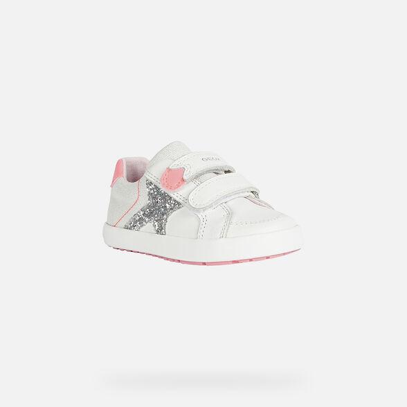 SNEAKERS BABY GEOX KILWI BABY GIRL - WHITE AND FLUOFUCHSIA