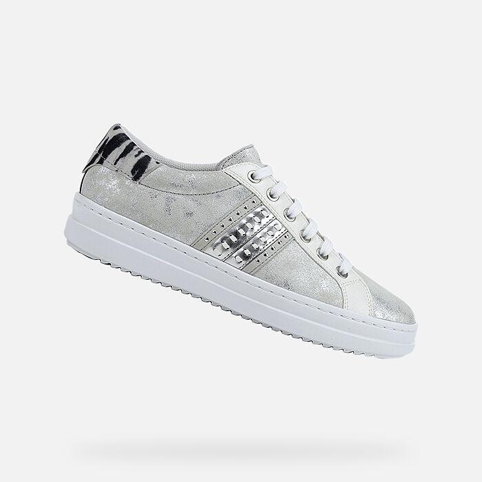 Breathable Geox JAYSEN Women Shoes Sale: WhiteSilver Geox