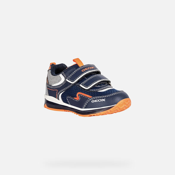 LIGHT-UP SHOES BABY GEOX TODO BABY BOY  - NAVY AND FLUO ORANGE