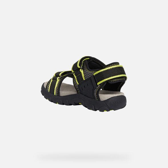 sale-DKFI-EN Site Catalog GEOX STRADA BOY - BLACK AND FLUO YELLOW
