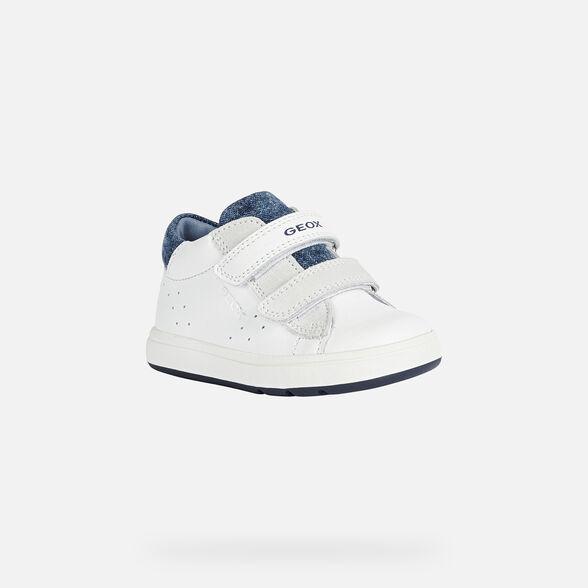 FIRST STEPS BABY GEOX BIGLIA BABY BOY - WHITE AND DARK BLUE