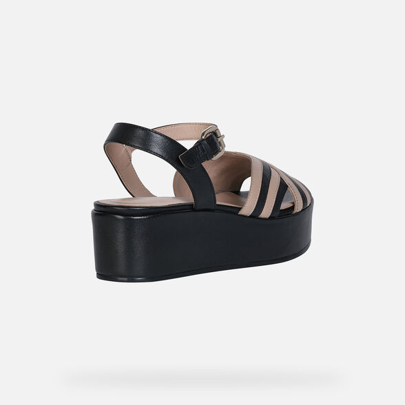 SANDALS WOMAN GEOX FAVIGNANA WOMAN - BLACK AND LIGHT TAUPE