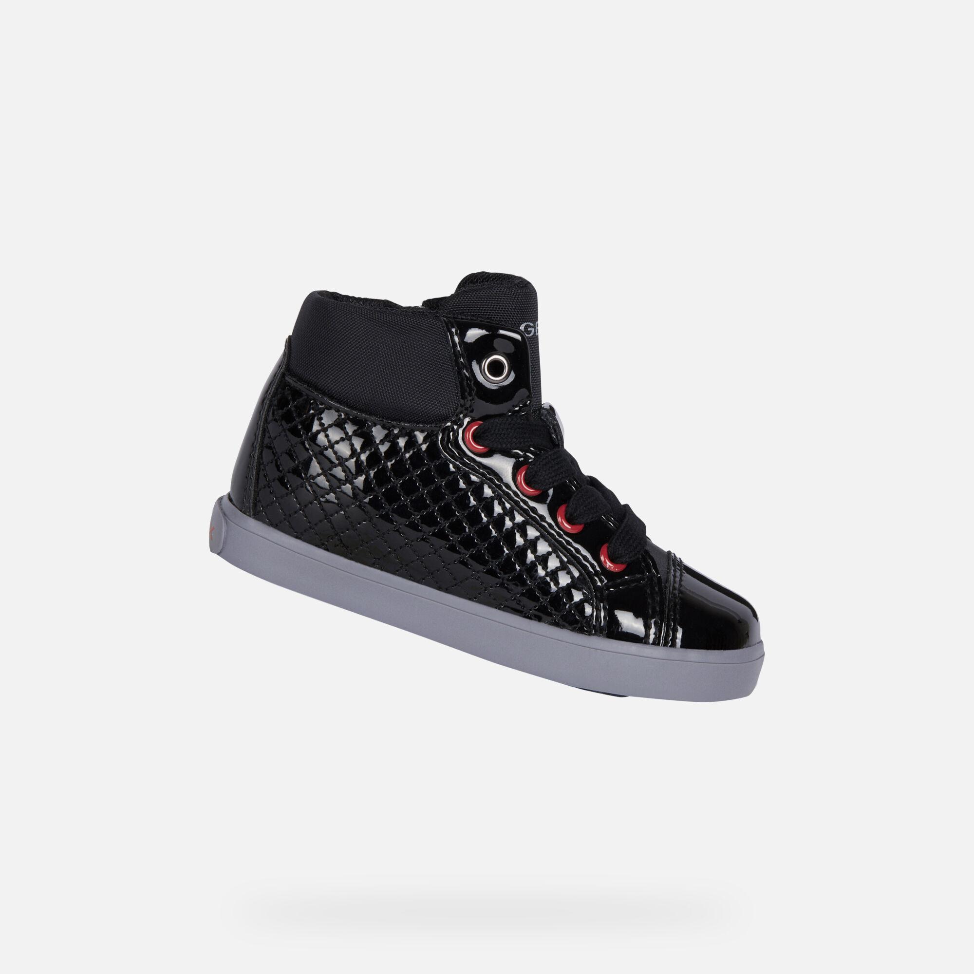Geox KILWI neugeborenes Mädchen: schwarze Sneakers High