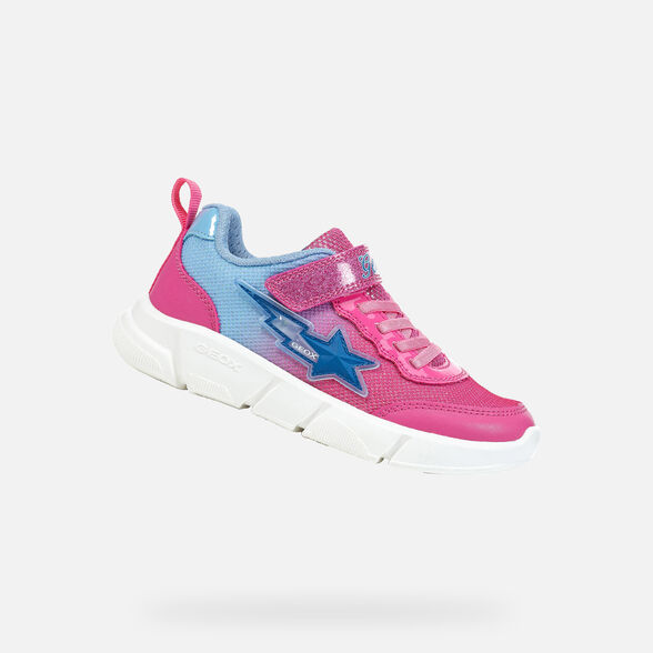 LIGHT-UP SHOES GIRL GEOX ARIL GIRL - FUCHSIA AND SKY