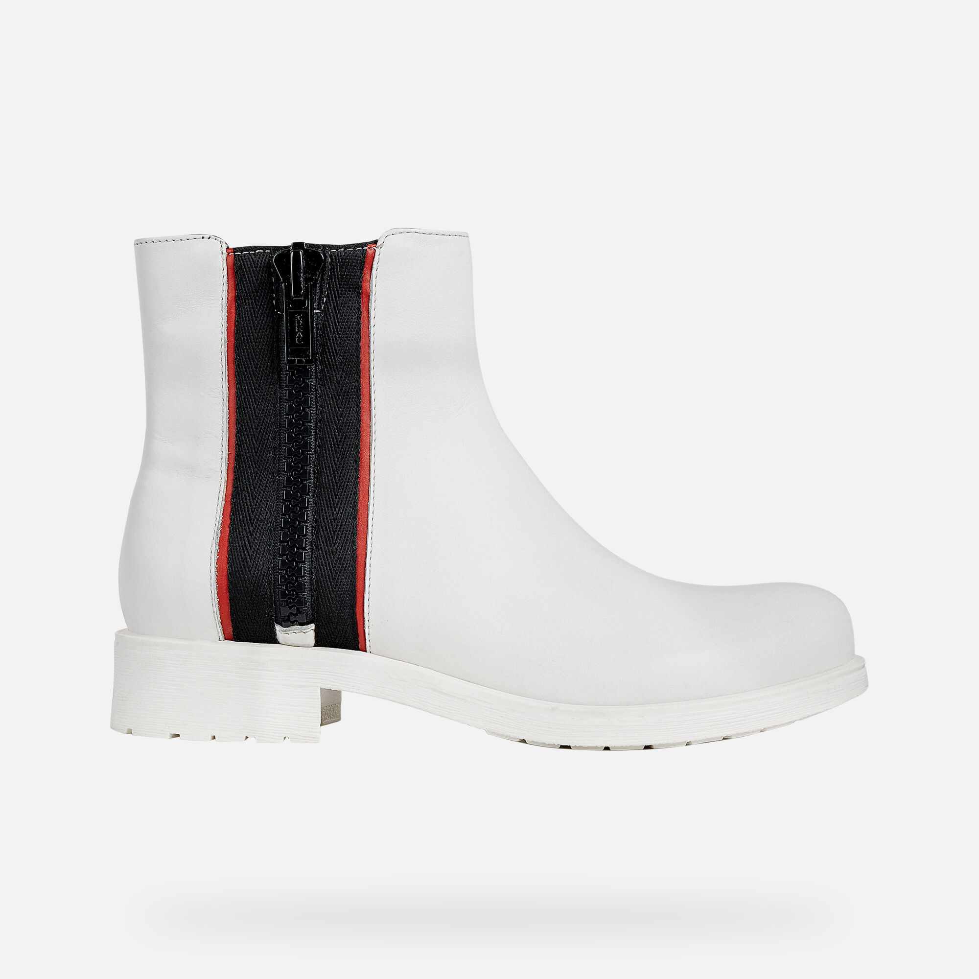 Geox DONNA NEW VIRNA: White and Red Woman Ankle Boots | Geox