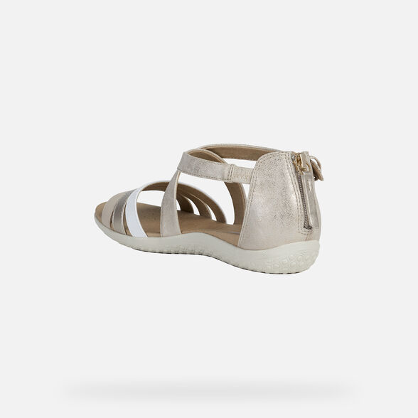 SANDALS WOMAN GEOX VEGA WOMAN - LIGHT GOLD AND WHITE