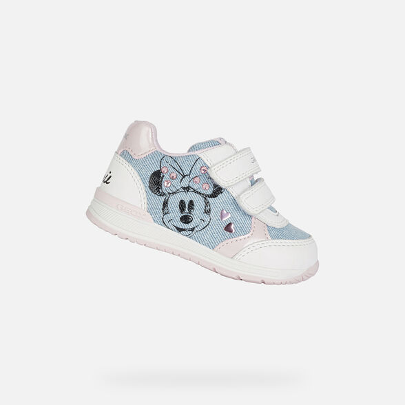 DISNEY BABY GEOX RISHON BABY GIRL - LIGHT JEANS AND WHITE