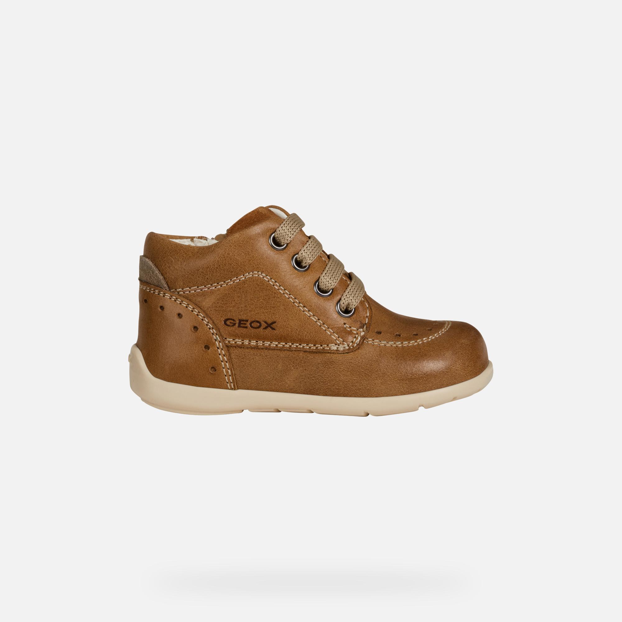 Geox B KAYTAN: Light Brown Baby Boy First Steps Shoes   Geox