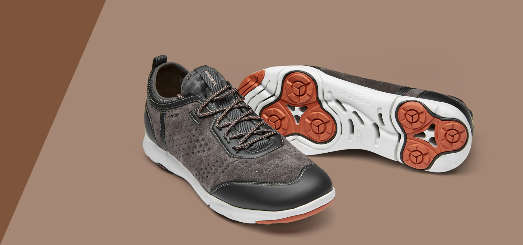 Geox U Symbol A Mens Wax Leather Casual Trainers Smart